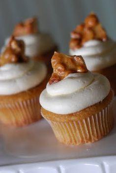 Microwave Peanut Brittle on cupcakes