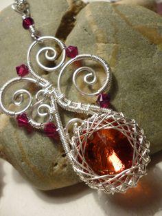 Spiral pendant red Swarowski wire jewelry by Juditta on Etsy