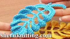 3D CROCHET LEAF TALL STITCHES Tutorial 28 Part 1 and 2. http://sheruknitting.com/videos-about-knitting/crochet-leaf-lessons/item/257-crochet-3d-leaf.html http://sheruknitting.com/videos-about-knitting/crochet-leaf-lessons/item/258-3d-crochet-leaf-tall-stitches.html These free crochet video instruction will help you to complete this beautiful leaf. We continue to crochet arches above each post on the leaf base. To complete the work make a leafstalk and you crochet leaf project is ready!