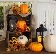 Dress up your front porch for fall! See how you can create this combination of wood crates, florals and pumpkins, or see other Pat Catan???s fall projects.