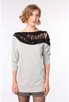 Ecote Macrame Trim Sweatshirt $54/ I love this.