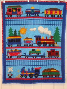 SALE-----Train panel  baby quilt. $30.00, via Etsy.