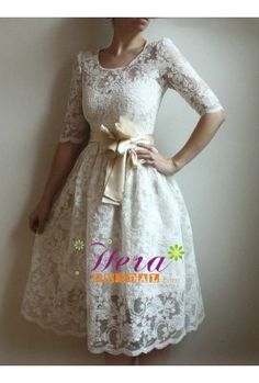 Knee Length Long Sleeve Lace Wedding Dress    If we do a vow renewal, beautiful