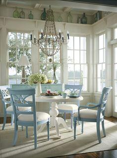 Beautiful Coastal Interiors. Love this dining room!  #coastal #interiors.