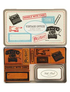 Vintage Office rubber stamps set by Cavallini.