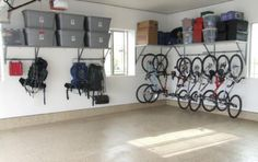 Check out the Monkey Bar Bike Racks! A great way to save space in your garage!