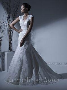 Beautiful fit and flare dress with keyhole diamond shaped cut out back Wedding Dress - 19913