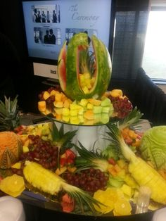 Fruit carving display. Popular at spring & summer weddings