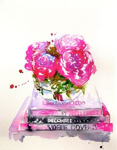 Pink Peonies Watercolor Print,  still life with peonies, watercolor flowers - Art Print