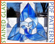 Stained Glass Triquetra Pattern 3 Point Celtic Knot Suncatcher PDF.  The triquetra is the simplest of the Celtic knots so this piece is quick and easy to make.  Get the pattern and make your own!