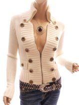 Patty Women Smart Buttons Embellished Zip Front Military Cardigan Jumper Jacket