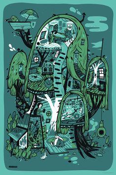 adventur time, friends, tree fort, rock posters, adventure time, printmaking, tree houses, treehous, art prints