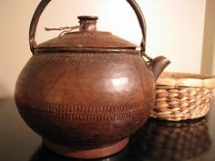 antique copper kettle.