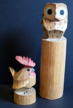 Hand Carved Wooden Vintage Owl - Ittobori Folk Art