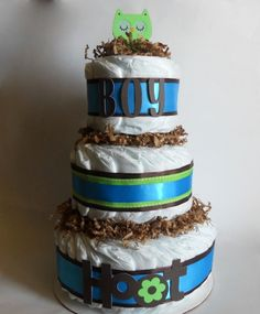Hoot Owl Baby Shower Diaper Cake In Blue and Green. $42.00, via Etsy.