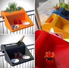 Balkonzept A Balcony Railing Hung Planter and Table