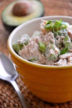 Pistachio Cinnamon Chicken Salad - Serve this chicken salad as an afternoon snack with whole grain crackers or sliced vegetables; or for lunch atop a bed of mixed greens and whole grain bread.  #lowcarb