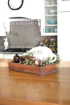 Large wooden toolbox from #Goodwill used as a centerpiece on my #kitchen island.  #thrift #decor #home #interior #designer #rustic