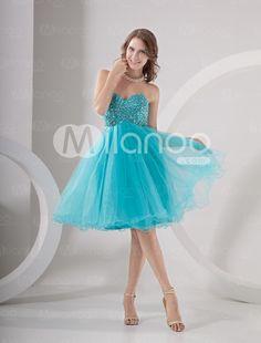 Organza A-Linie-Abendkleid für Homecoming mit trägerlosem Design in Blau - Milanoo.com