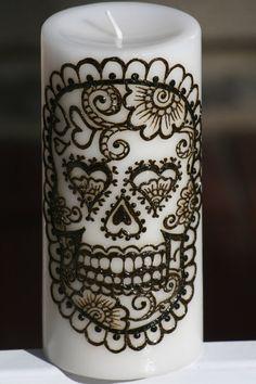 Henna Sugar Skull Pillar Candle, White, Day of the Dead, Dia de los Muertos