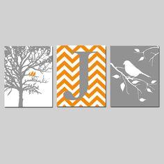 Bird Nursery Art Trio  Set of Three 8x10 Prints  Birds by Tessyla, $55.00