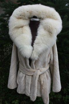 Brand New Beige Sheared Beaver Fur Coat Cobra Hood Fox Trim & Belt | eBay