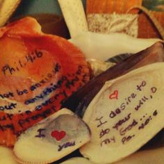 """like the """"beachy"""" look? write encouraging verses or quotes on shells and use them to decorate your home!"""