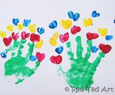 handprint flower hearts valentine crafts, bouquet, mothers day, art blog, valentine day, valentine cards, flower pots, hand prints, kid crafts