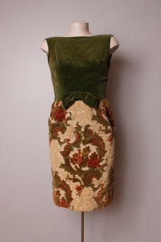 Vintage 1960's Olive Green Velvet Tapestry Wiggle Dress XS Petite.