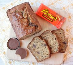 "If you adore banana bread, you will go nuts for this ""Peanut Butter Cup Banana Bread!"""
