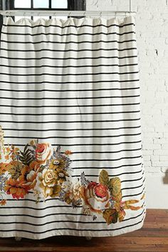 Striped Cabbage Rose Shower Curtain - Urban Outfitters