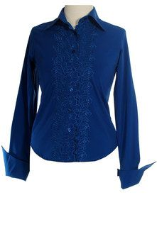 French Cuff Blouse in Steel Blue from Hannahlise. Love the color!