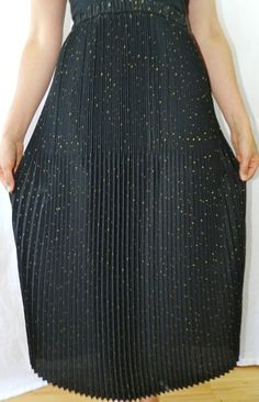 Jeanne Marc Pleated 80s Vintage Long Maxi Skirt Sz 8 Black with Gold Dots | eBay
