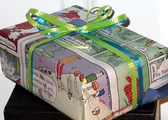 Probably one of the most popular newspaper craft ideas around: Sunday comics gift wrap.