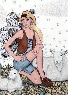 #Fairy #Sheep Original #ART- SFA Fantasy Zentangle Blue Outback cloud blond Goeben