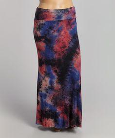 Loving this Red & Navy Tie-Dye Maxi Skirt - Plus on #zulily! #zulilyfinds