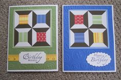 handmade cards ,,, quilt blocks ...