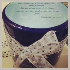 Secret Sister gift: Nivea Hand Creme with Proverbs 31:30-31 printed on scrapbook paper, attached to the top and finished off with a bow.