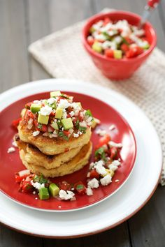 Fresh Corn Cakes with Avocado and Goat Cheese Salsa.
