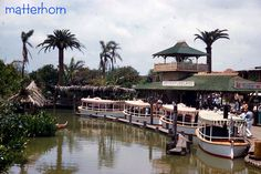 Cool look at the Jungle Cruise fleet, vintage Disneyland
