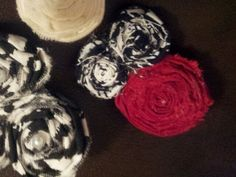 Fabric flower hairbows