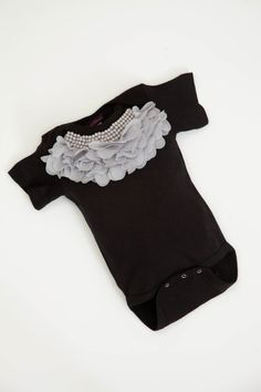 Baby Girl Onesie Set Short Sleeve Black Onesie Set with Pearl and Chiffon Collar via Etsy