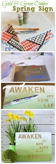 Quick and Easy Gold and Green Ombre Spring Sign tutorial at The Happy Housie