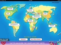 TapQuiz Maps allows students to choose a location of their choice.  Once students have decided on the area they want quizzed on, they app gives them a country or state to locate.  If the app senses that they user is needing assistance because they are taking too long, they will be given a hint.      Their scores are kept track of and also kept track of in relation to previous scores.      Price:  FREE