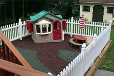 - good idea - keep the dogs out of the area, and don't have to worry about cleaning it up for the kids to play. - one day, when we have dogs, and a yard.....Outdoor Play area. I love this idea. I still have room in the backyard for the dogs to run around but the kids play area stays nice and tidy.