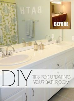 Easy DIY ideas for updating older bathrooms. Great ideas!