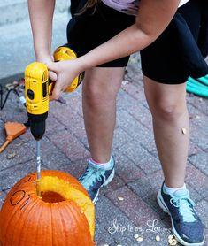 Pumpkin carving tips and tricks- how to gut a pumpkin, draw an erasable template, free printable template, etc. #halloween #pumpkin skiptomylou.org