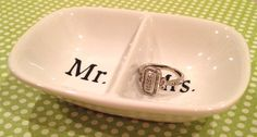 Mr.  Mrs. White Ceramic Ring Holder by ShineHandmadeGoods on Etsy, $10.00
