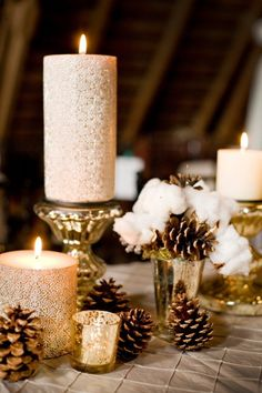 Pottery barn candles and holders, just like my mantle! Absolutely love these!