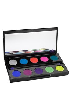 Urban Decay ' Electric' pressed pigment palette pro tips: Use the compact precision brush to line, blend and smudge. Use the small pigment brush to apply color all over the lid or in the crease.